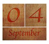 Wooden calendar September 4. — Stock Photo