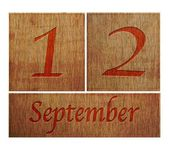 Wooden calendar September 12. — Stock Photo