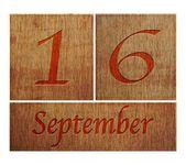 Wooden calendar September 16. — Stock Photo
