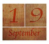 Wooden calendar September 19. — Stock Photo