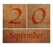 Wooden calendar September 20. — Stock Photo