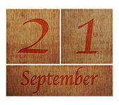 Wooden calendar September 21. — Stock Photo