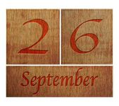Wooden calendar September 26. — Stock Photo