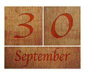 Wooden calendar September 30. — Stock Photo