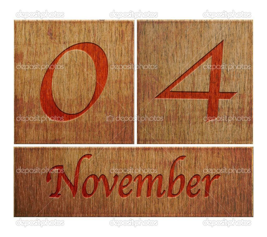 Wooden calendar November 4. — Stock Photo © StockPhotoAstur ...
