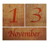 Wooden calendar November 13. — Stock Photo