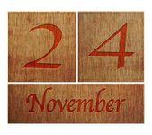 Wooden calendar November 24. — Stock Photo