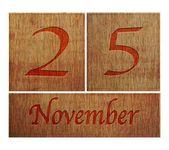 Wooden calendar November 25. — Stock Photo