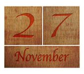 Wooden calendar November 27. — Stock Photo