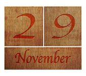 Wooden calendar November 29. — Stock Photo