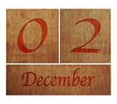 Wooden calendar December 2. — Stock Photo