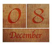 Wooden calendar December 8. — Stock Photo