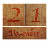 Calendário de madeira, 21 de dezembro. — Foto Stock