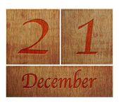 Holz kalender dezember 21. — Stockfoto
