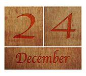 Wooden calendar December 24. — Stock Photo