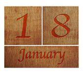 Wooden calendar January 18. — Stock Photo