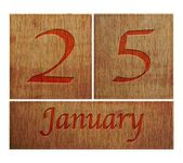Wooden calendar January 25. — Stock Photo