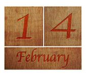 Wooden calendar February 14. — Stock Photo