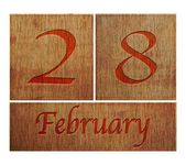 Wooden calendar February 28. — Stock Photo