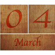 Wooden calendar March 4. — Foto Stock