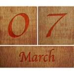 Wooden calendar March 7. — Stock Photo