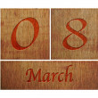 Wooden calendar March 8. — Stock Photo