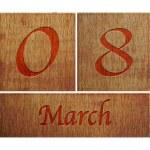 Wooden calendar March 8. — Stock Photo