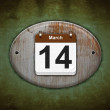 Old wooden calendar with March 14. — Stock Photo