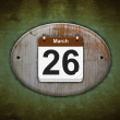 Old wooden calendar with March 26. — Stock Photo