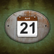 Old wooden calendar with April 21. — Stock Photo