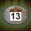 Old wooden calendar with May 13. — Stock Photo