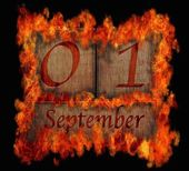 Burning wooden calendar September 1. — Stock Photo