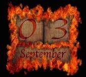 Spalanie drewna kalendarz 3 września. — Zdjęcie stockowe