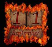 Burning wooden calendar September 11. — Stock Photo