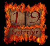 Burning wooden calendar September 19. — Stock Photo