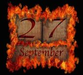 Burning wooden calendar September 27. — Stock Photo