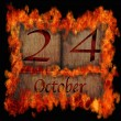 Burning wooden calendar October 24. — Stock Photo