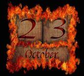 Burning wooden calendar October 23. — Stock Photo