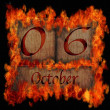 Burning wooden calendar October 6. — Stock Photo