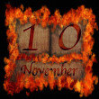 Burning wooden calendar November 10. — Stock Photo