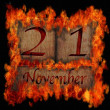 Burning wooden calendar November 21. — Stock Photo