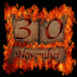 Burning wooden calendar November 30. — Stock Photo