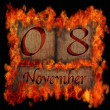 Burning wooden calendar November 8. — Stock Photo