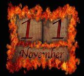 Burning wooden calendar November 11. — Stock Photo