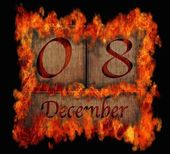 Burning wooden calendar December 8. — Stock Photo