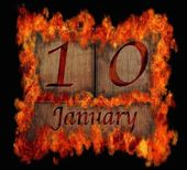 Burning wooden calendar January 10. — Stock Photo