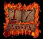 Burning wooden calendar January 17. — Stock Photo