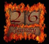 Burning wooden calendar January 26. — Stock Photo