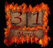 Brandende houten kalender 31 maart. — Stockfoto