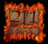 Burning wooden calendar March 21. — Stock Photo